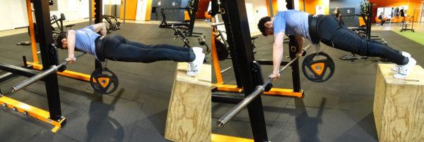 elevated bar push ups